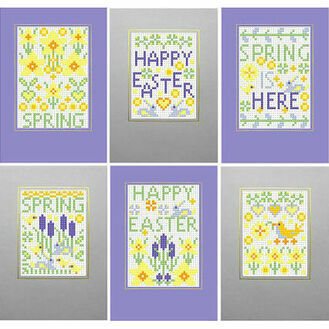 Happy Easter - Spring Cross Stitch Card Kits (Set Of 6)