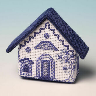 Blue Willow House Fridge Magnet Cross Stitch Kit