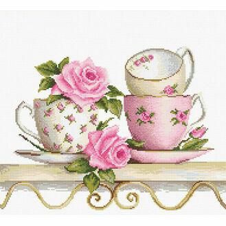 Stack Of Teacups Cross Stitch Kit
