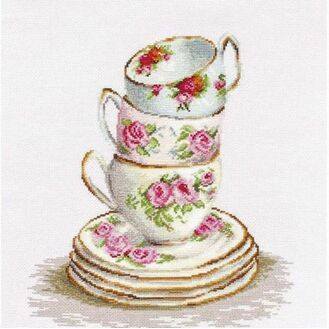 Three Stacked Cups Cross Stitch Kit