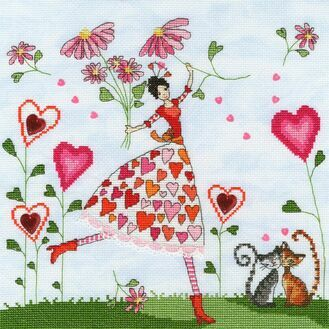 Miss Heart Cross Stitch Kit