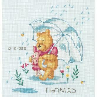 Winnie In The Rain Birth Record Disney Cross Stitch Kit