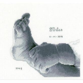 Little Baby Foot Cross Stitch Birth Sampler Kit
