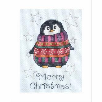 Flo Penguin Cross Stitch Christmas Card Kit