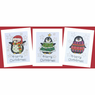 Three Happy Penguins Cross Stitch Christmas Card Kits (Set of 3)