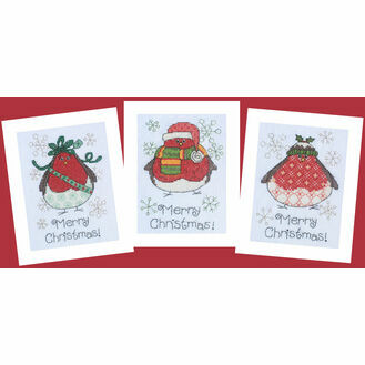 Three Round Robins Cross Stitch Christmas Card Kits (Set of 3)
