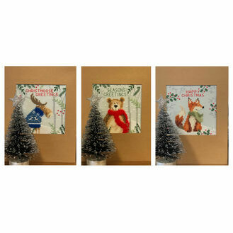 Christmas Moose, Christmas Bear and Christmas Fox Cross Stitch Christmas Card Kits (Set of 3)