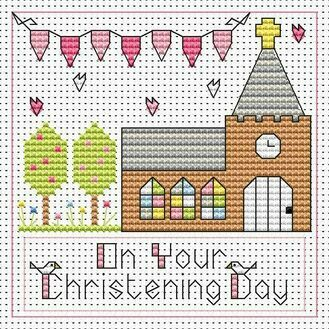 Christening Day Girl Cross Stitch Card Kit