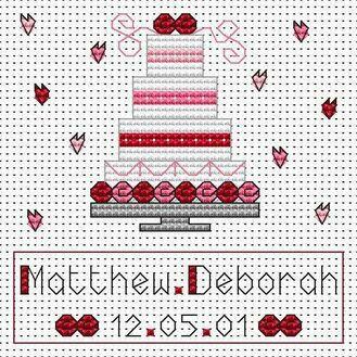 Pink Wedding Cake Cross Stitch Card Kit
