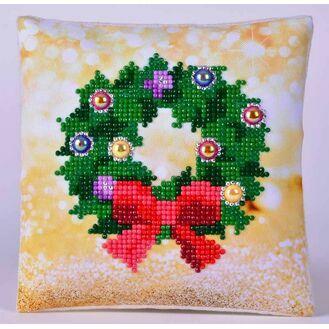Christmas Wreath Pillow Diamond Dotz Kit