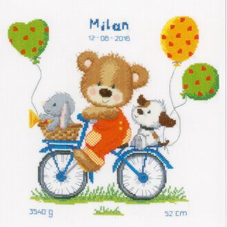 Cycling Bear Cross Stitch Birth Record Kit