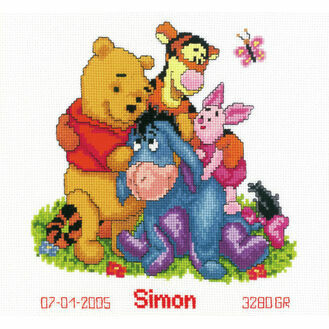Winnie & Friends Cross Stitch Birth Record Kit