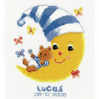 Teddy On Moon Cross Stitch Birth Record Kit