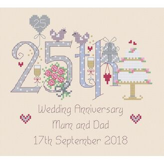 25th Wedding Anniversary Numbers Cross Stitch Kit