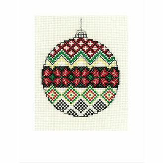 Christmas Poinsettia Bauble Cross Stitch Christmas Card Kit
