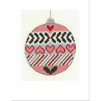 Christmas Heart Bauble Cross Stitch Christmas Card Kit