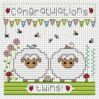 Twin Sheep Cross Stitch Card Kit