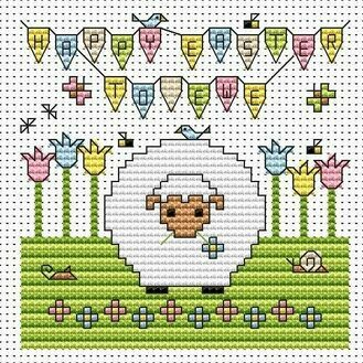 Happy Easter To Ewe Cross Stitch Card Kit