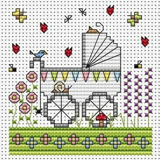 Garden Pram Cross Stitch Card Kit