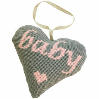 Baby Girl Pink On Grey Heart Tapestry Kit