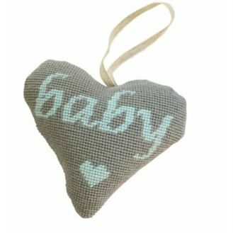Baby Boy Blue On Grey Heart Tapestry Kit
