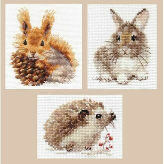 Countryside Creatures Set of 3 Counted Cross Stitch Kits - Squirrel, Rabbit, Hedgehog