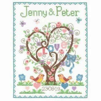 Love Heart Wedding Sampler Cross Stitch Kit