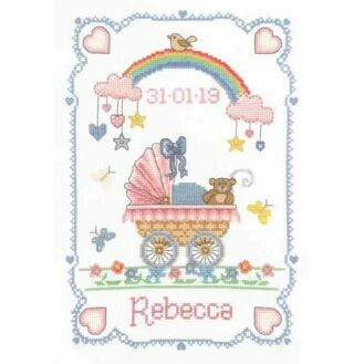 Over The Rainbow Birth Sampler Cross Stitch Kit