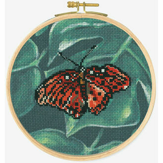 Red Butterfly Cross Stitch Hoop Kit