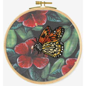Orange Butterfly Cross Stitch Hoop Kit