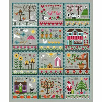 Little Dove's Year (Grey) Cross Stitch Kit