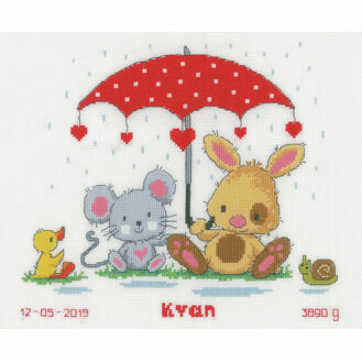 Under The Umbrella Birth Sampler Cross Stitch Kit
