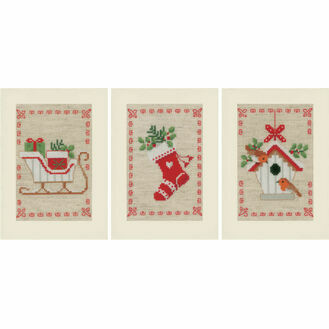 Christmas Wish Cards - Set Of 3 Cross Stitch Card Kits