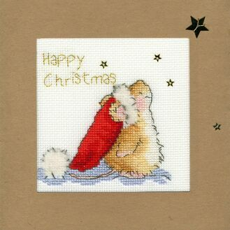 Star Gazing Mouse Cross Stitch Christmas Card Kit