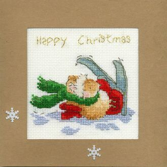 Apres Ski Mouse Cross Stitch Christmas Card Kit
