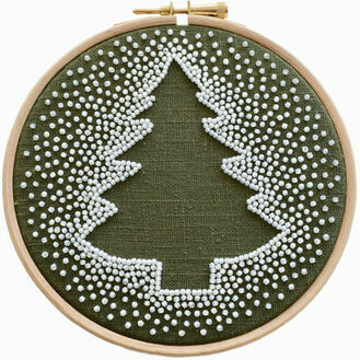 White Christmas Tree Beadwork Embroidery Kit
