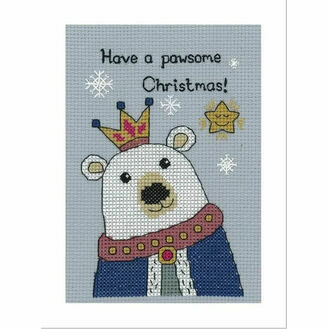 Bruce Polar Bear Cross Stitch Christmas Card Kit