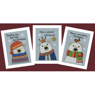 Three Chilly Polar Bears Cross Stitch Christmas Card Kits (Set of 3)