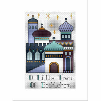 Bethlehem Blue Purple Cross Stitch Christmas Card Kit