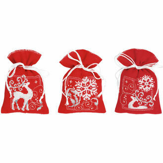 Deer With Snowflakes On Red Pot Pourri Bags Set Of 3 Cross Stitch Kits