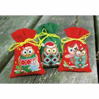 Christmas Owls Pot Pourri Bags Set of 3 Cross Stitch Kits