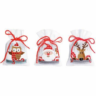 Christmas Buddies Pot Pourri Bags Set of 3 Cross Stitch Kits