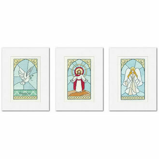 Stained Glass Christmas Cards Set C (set of 3)