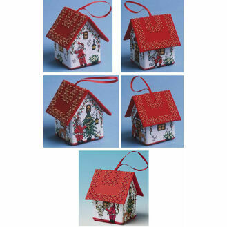 Set Of 5 Santa House 3D Cross Stitch Kits
