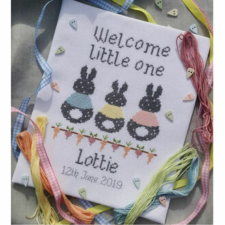 Bunny Baby Birth Sampler Cross Stitch Kit