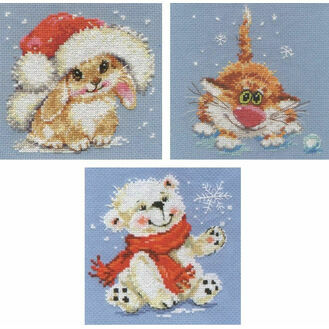 Snowy Creatures Cross Stitch Kits (set of 3)