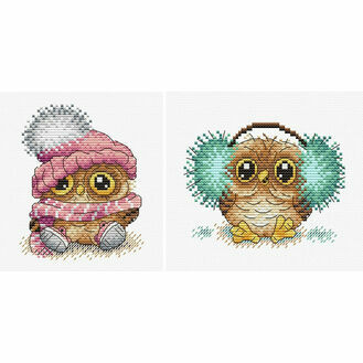 Fluffy Owl Duo Cross Stitch Kits (set of 2)