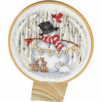 Joyful Snow Globe Cross Stitch Hoop Kit