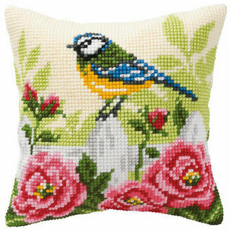 Blue Tit Chunky Cross Stitch Cushion Panel Kit