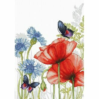 Poppies & Butterflies Cross Stitch Kit